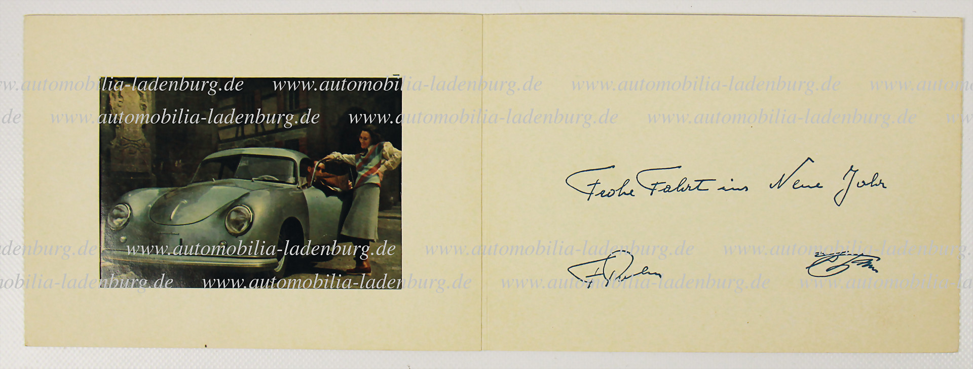 original Weihnachtskarte Porsche 'Frohe Fahrt ins neue Jahr' - Zuschlag 15.000 €