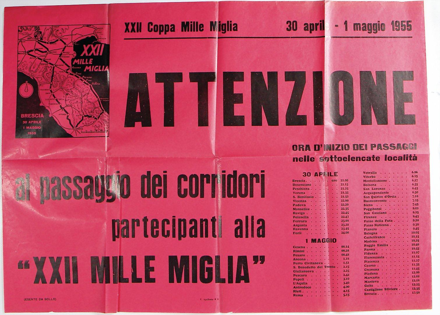 1955 MILLE MIGLIA Poster 'Attenzione al passagio dei corridori'