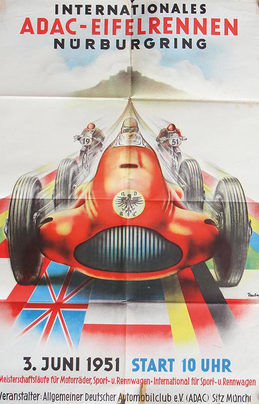 3877 - Poster Internationales ADAC Eifel-Rennen Nürburgring Juni 1951
