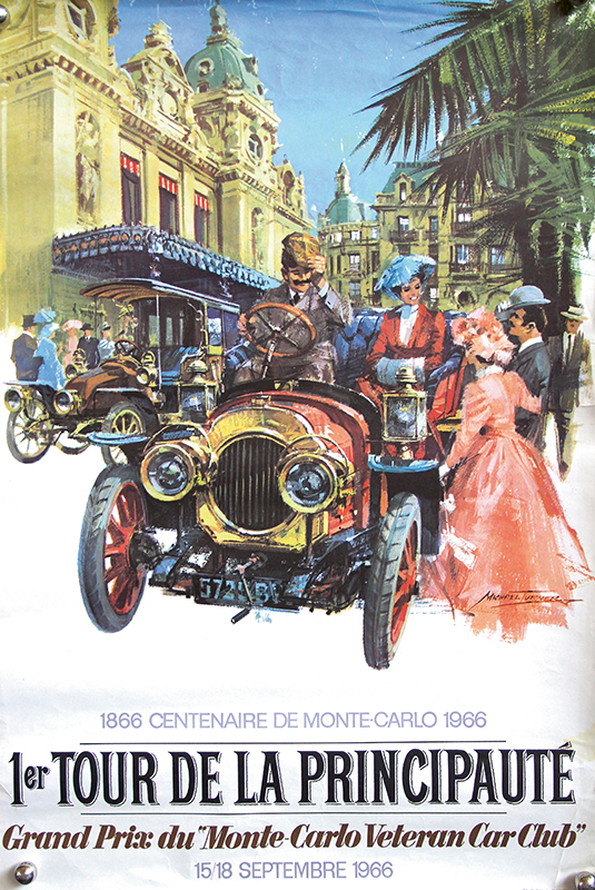 3893 - Poster 1. Tour de la Principaute Grand Prix du Monte Carlo Veteran Car Club 1966