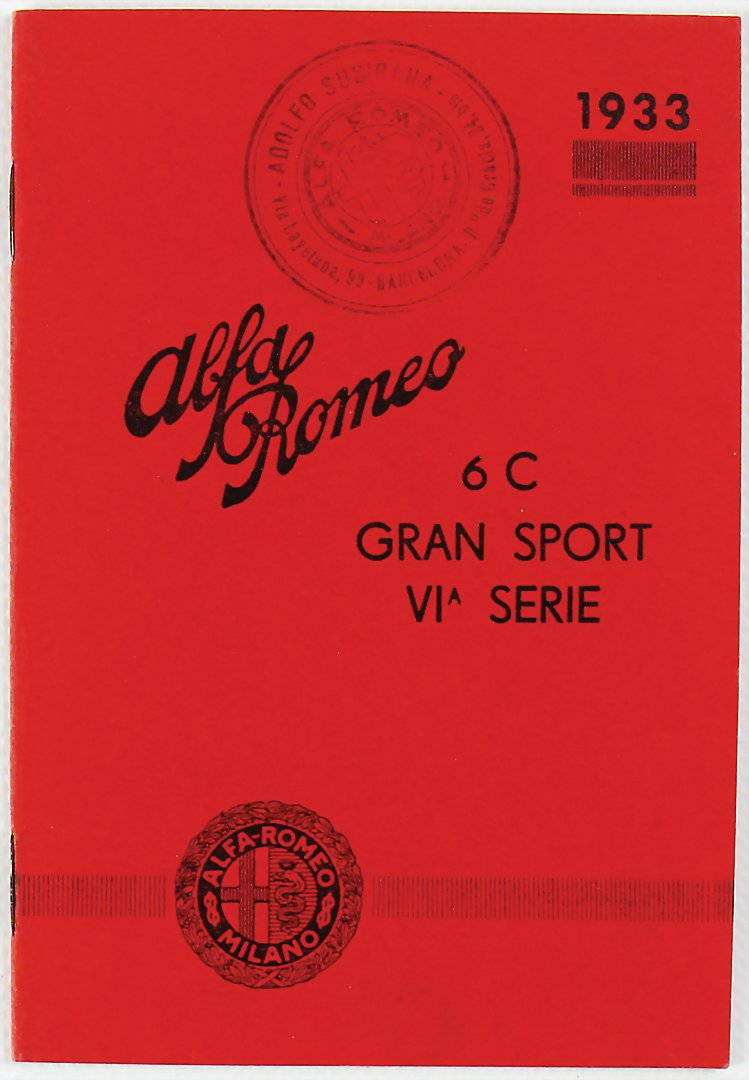 1933, Verkaufskatalog Alfa Romeo 6C Gran Sport VI Serie - Zuschlag 901 €
