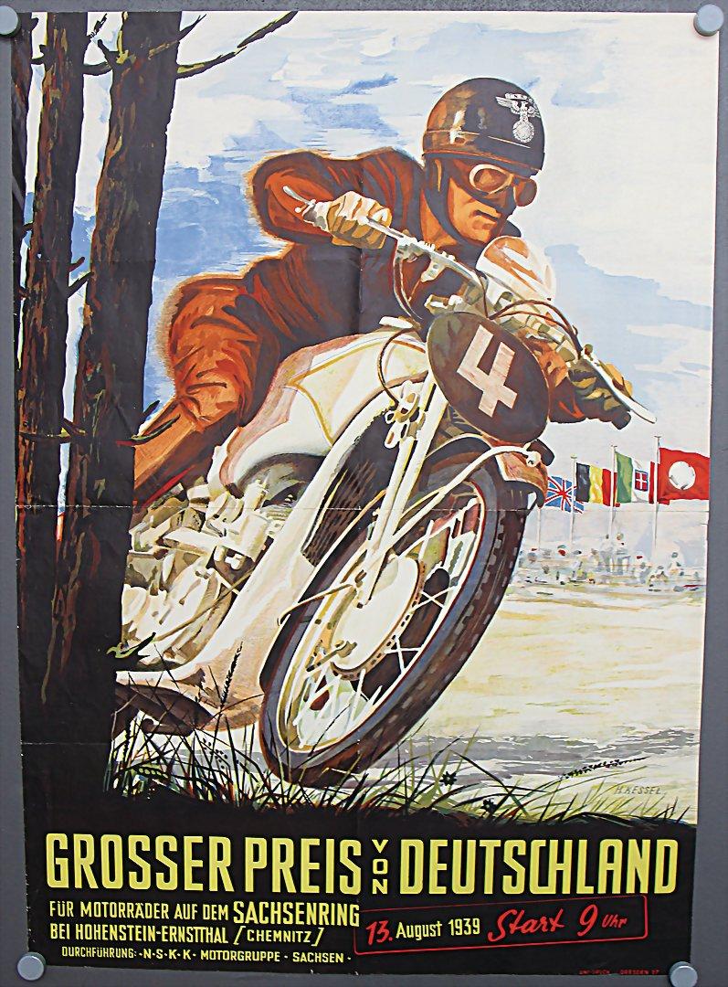 Original Veranstaltungsplakat 'Großer Preis von Deutschland 13.August.1939' - Zuschlag 2.800 €