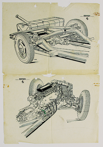 Ferrari 125 S Drawings, First Ferrari Publication
