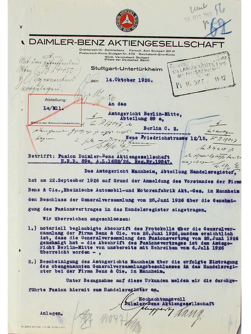 1926 MERCEDES BENZ DOKUMENT FUSION EINTRAG INS HANDELSREGISTER