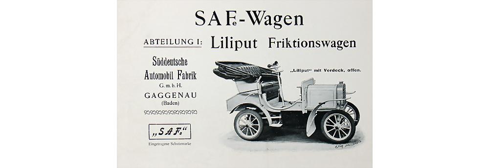 1904 Süddeutsche Automobil Fabrik (SAF) Verkaufsprospekt Liliput 4 Seiten