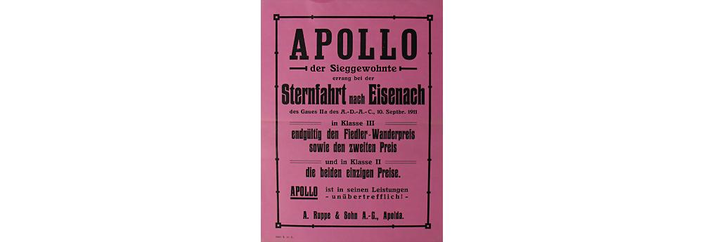 1911 APOLLO A. Ruppe & Sohn AG Einblattprospekt Sternfahrt nach Eisenach