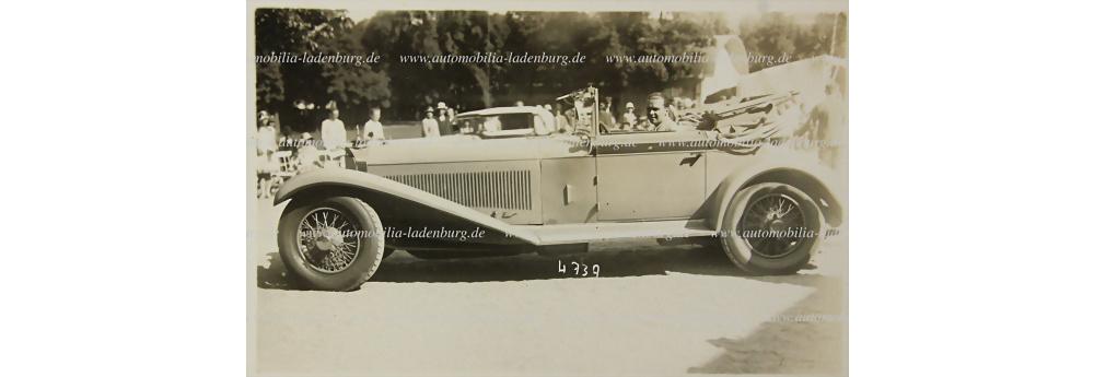 Mercedes Benz original s/w Aufnahme Rudolf Carracciola in seinem privaten Mercedes Benz Typ SS
