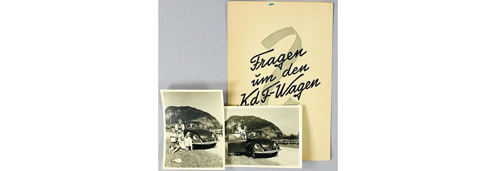 Fragen um den KDF Wagen, Verkaufsprospekt mit 2 original s/w Aufnahmen