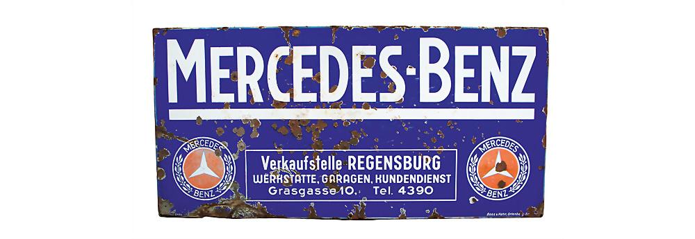 Mercedes Benz Emailleschild, Verkaufsstelle Regensburg,ca. 1931