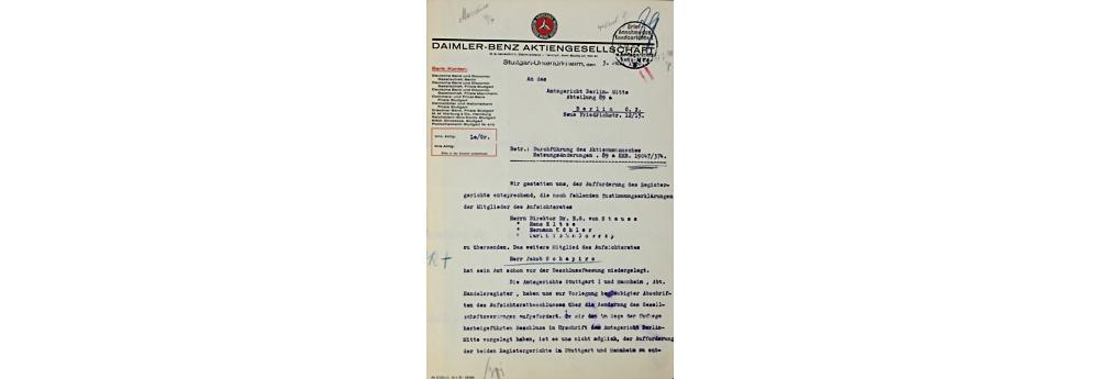 Daimler Benz AG, Dokument, datiert 3.7.1930, Durchführung des Aktienumtausches sowie niederlegung des Amtes Jakob Schapiro