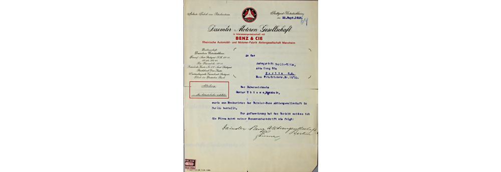Daimler Benz AG, Dokument, datiert 25.9.1926, Bestellung von Herrn Gustav Thieme als Prokuristen