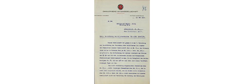 Daimler Benz AG, Dokument, datiert 13.5.1930, Durchführung des Aktienumtausches