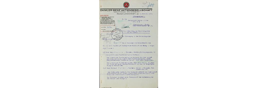 Daimler Benz AG, Dokument, datiert 8.12.1935, Bestellung von Jakob Werlin in den Vorstand der Daimler Benz AG