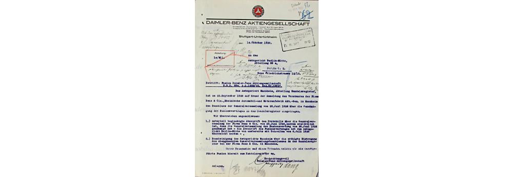 Daimler Benz AG, Dokument, datiert 14.10.1926, Fusion der Daimler Benz AG