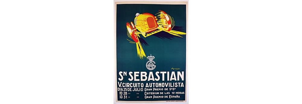 Veranstaltungsplakat San Sebastian V. Circuito Automovilista, Jahr 1930