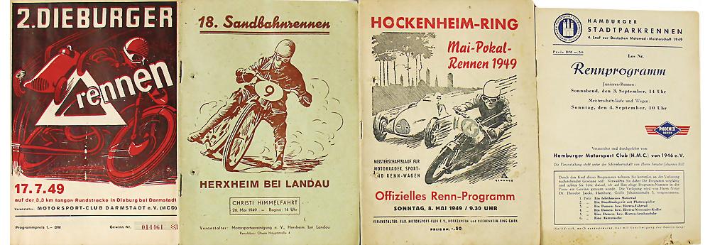 Rennprogramme, Dieburger Dreiecksrennen, Hockenheim- Ring 1949, etc.