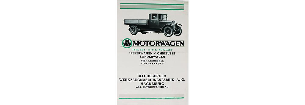 1920 MWF (Magdeburger Werkzeugmaschinenfabrik AG) Faltprospekt Motorwagen 4 Seiten