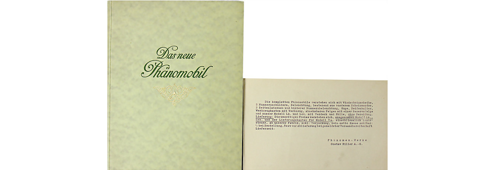 1916 PHÄNOMEN Werke G. Hiller 'Das neue Phänomobil2 48 Seiten Modellprogramm