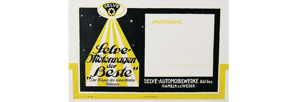 1922 SELVE Verkaufskatalog 'Selve Motorwagen der Beste', 8 Seiten