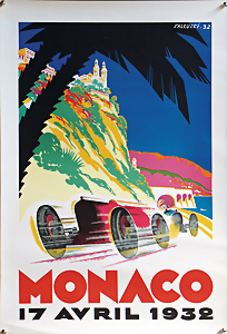 VINTAGE 1956 MONACO GRAND PRIX AUTOMOBILE A4 POSTER PRINT