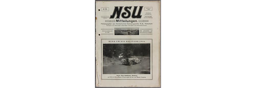 Nr. 3938 - Hauszeitschrift 'NSU Mitteilungen', Ausgabe Juli 1925