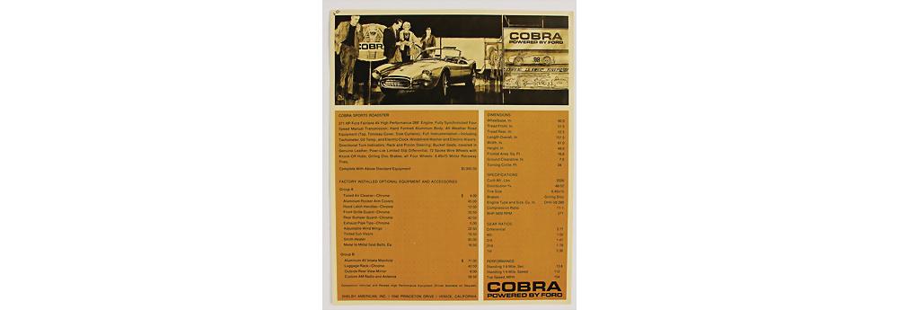Nr. 426 - SHELBY Einblattprospekt Shelby Cobra, mit technischen Daten, englischer Text, guter Zust.