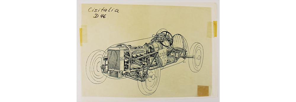 Nr. 58 - Tuschezeichnung, Schnittzeichnung Cistialia D46, 1947