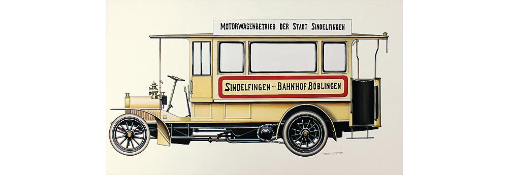 Nr. 3005 - Entwurfzeichnung Daimler Omnibus 'Motorwagen der Stadt Sindelfingen1906