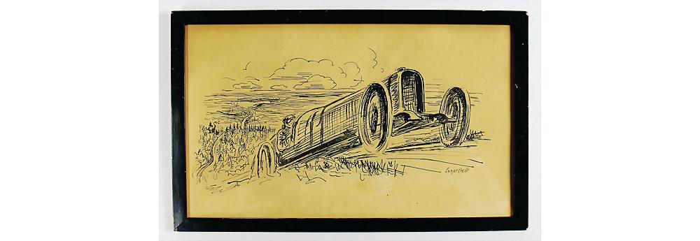 Nr. 6017 - Skizzenzeichnung,Künstler Lagerstedt in Form eines Bugattis